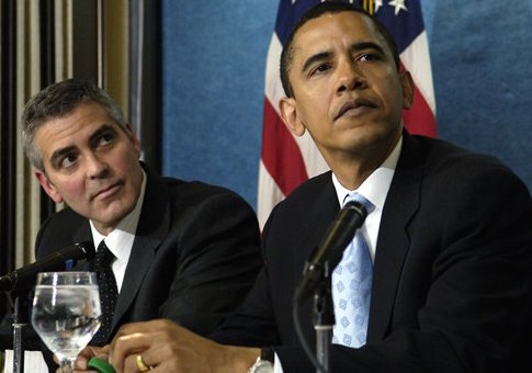 George Clooney and Barack Obama in 2006