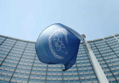 The flag of the IAEA