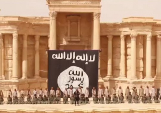 A video released from Daesh (or ISIS or 'Islamic State') shows militants executing 25 captives (Syrian army soldiers) in the ruins of the main Roman amphitheater in the ancient city of Palmyra, Syria, on July 3, 2015 /