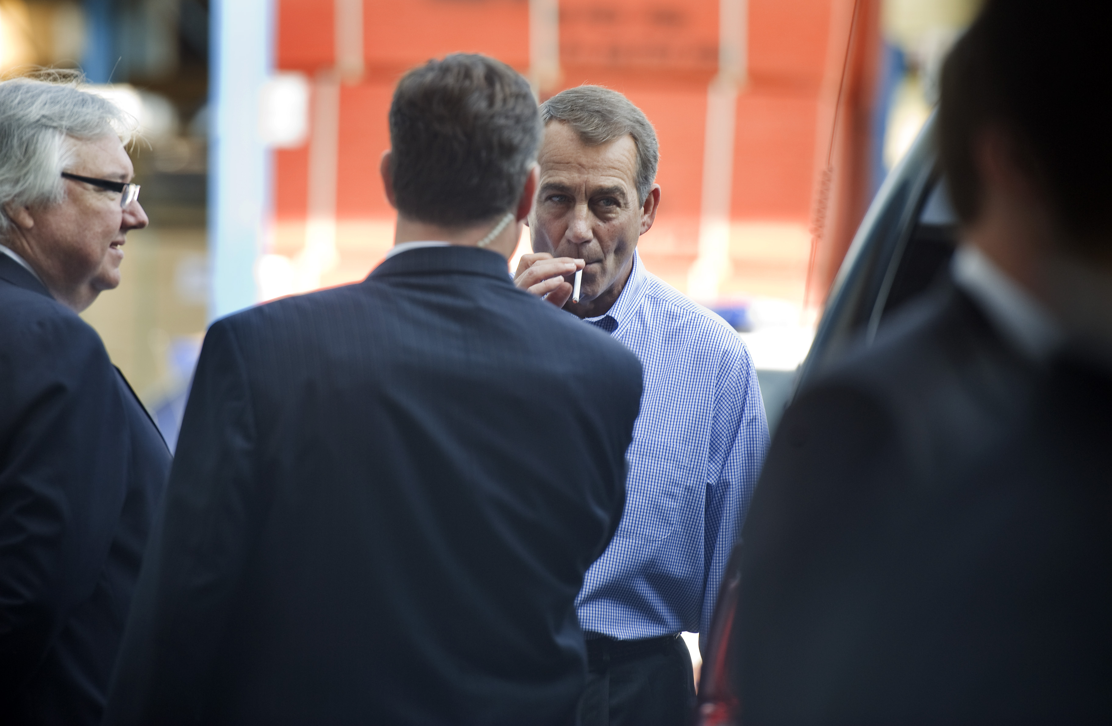 "UNITED STATES - SEPTEMBER 23:  House Minority Leader John Boehner, R-Ohio, smokes a cigarette after a news conference outside of Tart Lumber Company in Sterling, Va., were they unveiled ""A Pledge to America,"" a governing agenda devised by House Republicans for the 111th Congress.  (Photo By Tom Williams/Roll Call via Getty Images) (CQ Roll Call via AP Images)"