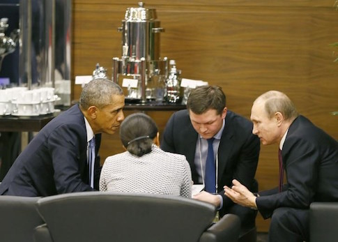 U.S. President Obama talks with Russian President Putin prior to opening session of G20 in Antalya