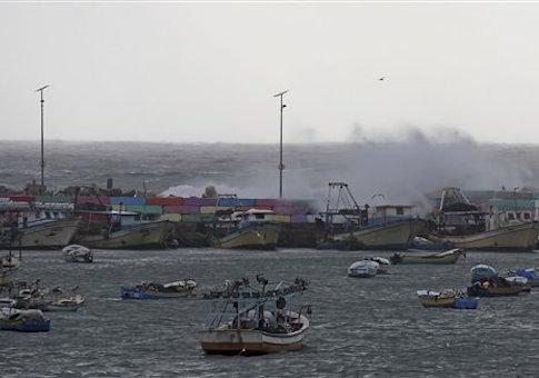 Palestinian boats parked in the fishermen's port in Gaza City, in the northern Gaza Strip