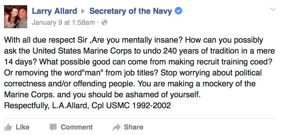 Larry Allard, retired corporal, via Facebook