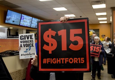 Supporters of a $15 minimum wage