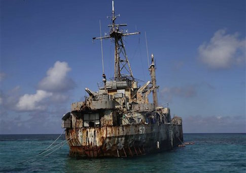 A dilapidated Philippine Navy ship LT 57 (Sierra Madre) is anchored off the South China Sea