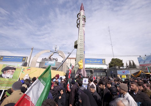 Iranian-made Emad missile is displayed during a ceremony marking the 37th anniversary of the Islamic Revolution, in Tehran