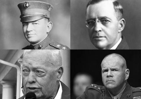 John Lejeune, Alfred Cunningham, Al Gray, and Robert Nell