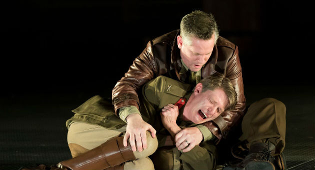 Patrick Vaill as Cassio and Jonno Roberts as Iago in the Shakespeare Theatre Company's production of Othello, directed by Ron Daniels / Scott Suchman