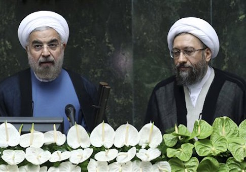 Hassan Rouhani with Sadeq Larijani /