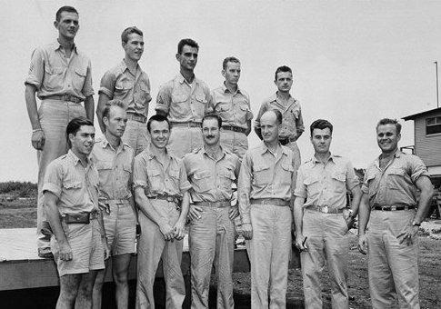 Maj. Thomas Ferebee and other crew members of the Enola Gay / AP