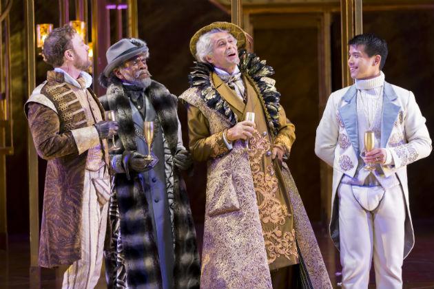 Tom Story as Hortensio, André De Shields as Vincentio, Bernard White as Baptista Minola, and Telly Leung as Lucentio / Scott Suchman