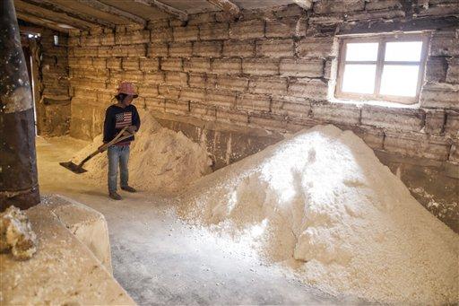 A girl shovels salt inside a Salt factory