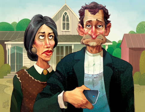 Anthony Weiner and Huma Abedin / Parody of Grant Wood's 'American Gothic' / Illustration for The Washington Free Beacon -- by and © Copyright Anton Emdin 2016. All Rights Reserved. Please do not reproduce without express written permission.