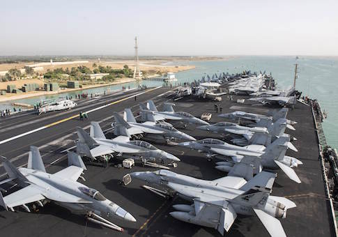 The US Navy aircraft carrier USS Harry S. Truman transits the Suez Canal, Egypt towards the Mediterranean Sea