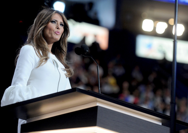 Republican candidate Donald Trump's wife Melania Trump speaks on stage on the first day of the Republican National Convention on July 18, 2016 at the Quicken Loans Arena in Cleveland, OH, USA. Photo by Dennis Van Tine/Sipa USA