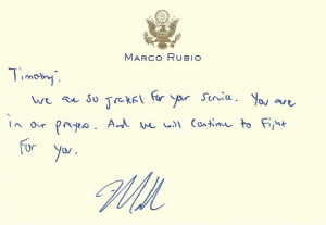 Note from Sen. Marco Rubio / Timothy Riney Foundation