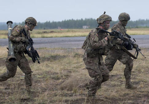 Members of the U.S. Army 173rd Airborne Brigade take part in a military exercise 'Iron Wolf 2016'