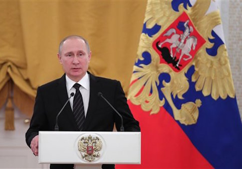 President Vladimir Putin addresses New Year reception at the Kremlin