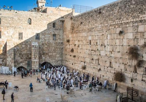 Orthodox Jewish people at the Western Wall, Jerusalem