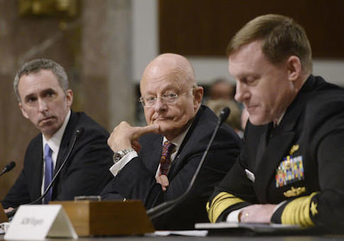 Defense Undersecretary for Intelligence Marcell Lettre, Director of National Intelligence James Clapper, and National Security Agency Director Adm. Michael Rogers testify before the Senate Armed Services Committee