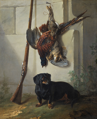 'The Dachshund Pehr with Dead Game and Rifle'