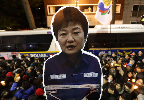 Protesters gather and occupy major streets in the city center for a rally against South Korean President Park Geun-hye on December 3