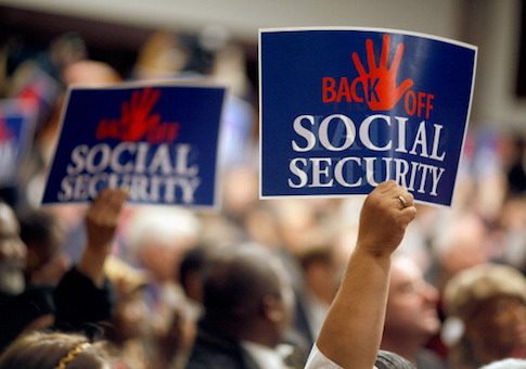 Social Security supporters attend a rally