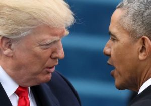 U.S. President Barack Obama (R) greets President-elect Donald Trump at inauguration ceremonies swearing in Trump as president on the West front of the U.S. Capitol in Washington, U.S.