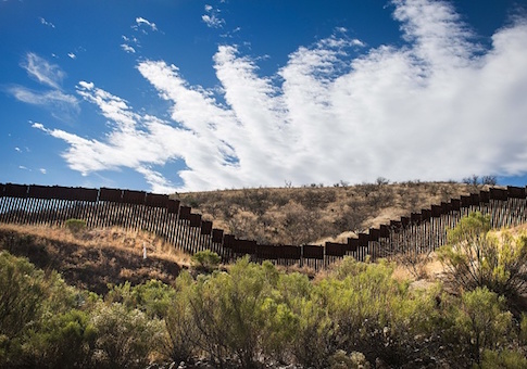 A section of the border fence in Nogales, Arizona