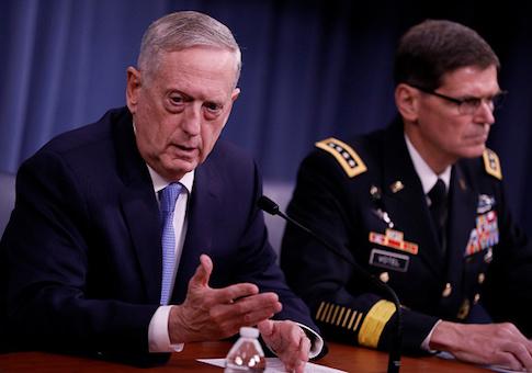 Defense Secretary James Mattis and General Joseph Votel, commander, US Central Command