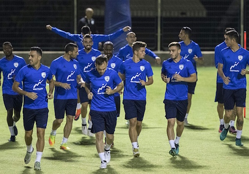 Israeli national football team's players take part in a training session