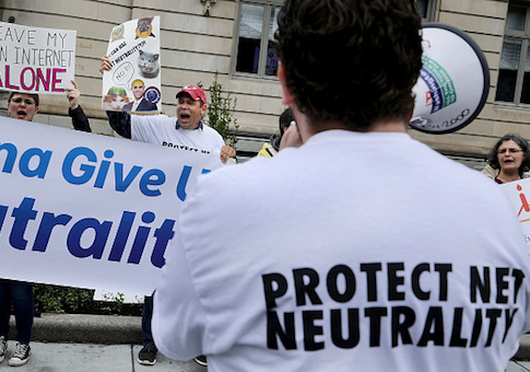 Proponents of net neutrality protest against Federal Communication Commission Chairman Ajit Pai