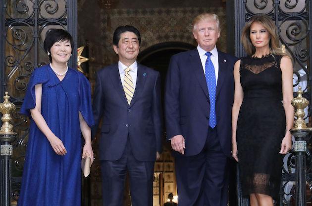 US President Donald Trump, Japanese Prime Minister Shinzo Abe, Trump's wife Melania, and Abe's wife Akie
