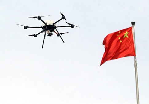 An unmanned drone aircraft is tested during a campaign for disaster prevention and reduction in Beijing