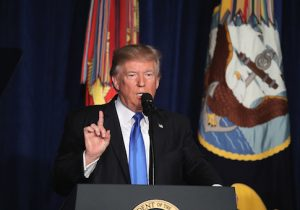 President Donald Trump delivers remarks on Americas military involvement in Afghanistan at the Fort Myer military base / Getty Images