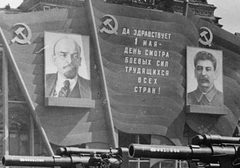 Posters of Lenin and Stalin in Red Square, 1947 / Getty Images