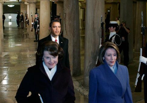 Pelosi and Feinstein at Barack Obama's inauguration