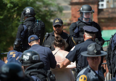 A protester is arrested in Charlottesville