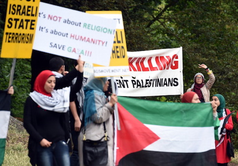 Anti-Israeli protesters shout slogans