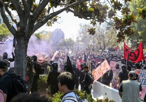 Antifa members and counter protesters gather at the rightwing No To Marxism rally on August 27, 2017 in Berkeley
