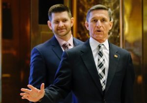 Retired Lt. Gen. Michael Flynn and son Michael G. Flynn arrive at Trump Tower / Getty Images