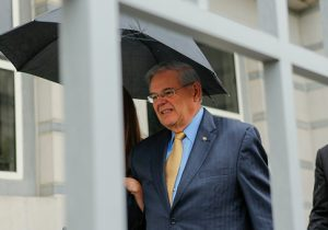 Sen. Robert Menendez exits federal court on the first day of his trial on corruption charges / Getty Images