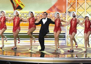 Host Stephen Colbert performs onstage during the 69th Annual Primetime Emmy Awards / Getty Images
