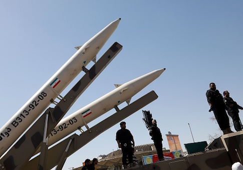 Zolfaghar missiles are displayed during a rally marking al-Quds Day in Tehran