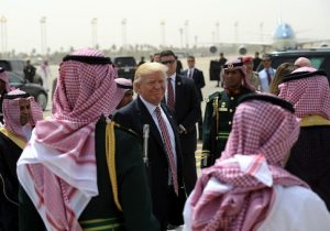 President Donald Trump makes his way to board Air Force One in Riyadh