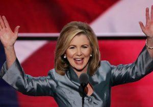 Rep. Marsha Blackburn (R-TN), current U.S. Senate candidate, delivers a speech during the evening session on the fourth day of the Republican National Convention on July 21, 2016 at the Quicken Loans Arena in Cleveland, Ohio. Republican presidential candidate Donald Trump received the number of votes needed to secure the party's nomination. An estimated 50,000 people are expected in Cleveland, including hundreds of protesters and members of the media. The four-day Republican National Convention kicked off on July 18. (Photo by Alex Wong/Getty Images)