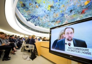 United Nations High Commissioner for Human Rights, Jordanian Zeid Ra'ad Al Hussein addresses a session of United Nations Human Rights Council