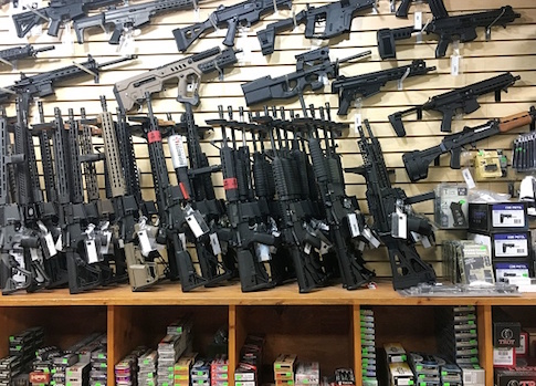 Semi-automatic rifles are seen for sale in a gun shop in Las Vegas, Nevada