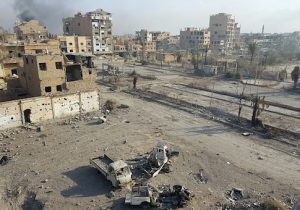 Smoke billows from the eastern Syrian city of Deir Ezzor