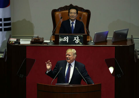 Donald Trump speaks at the National Assembly in Seoul, South Korea
